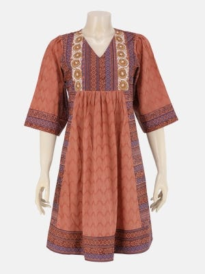 Light Brown Printed and Embroidered Viscose-Cotton Tunic