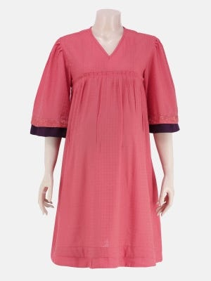 Punch Pink Embroidered Viscose-Cotton Maternity Top