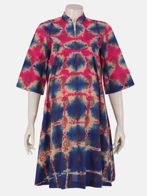 Blue Tie-Dyed and Printed Cotton Maternity Tops