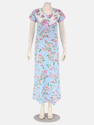 Light Blue Printed and Embroidered Cotton Nightwear