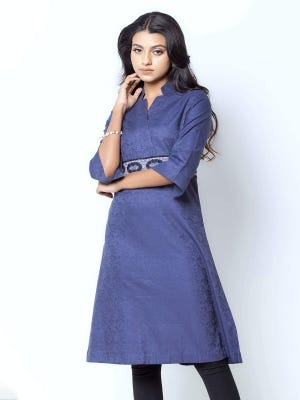 Steel Blue Embroidered Cotton Tunic