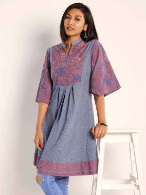 Grey Printed and Embroidered Ramie Cotton Tunic