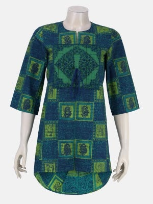 Green Printed and Embroidered Cotton Top