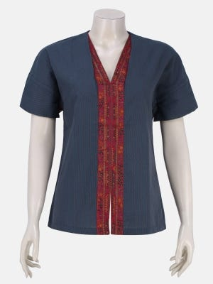 Teal Printed and Embroidered Handloom Cotton Top
