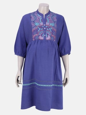 Light Purple Printed Cotton And Embroidered Maternity Top