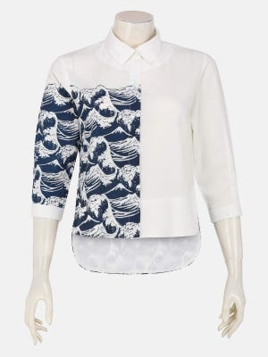 White Printed and Embroidered Ramie Cotton Top