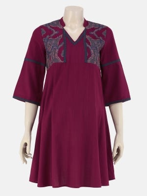 Plum Printed and Embroidered Viscose-Cotton Maternity Tops