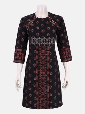 Black Printed and Embroidered Viscose-Cotton Tunic