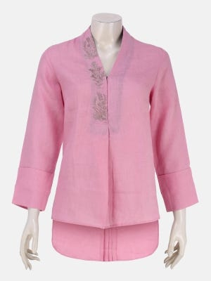 Pink Embroidered Ramie-Rayon Top