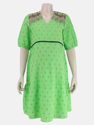 Green Printed and Embroidered Viscose-Cotton Maternity Top