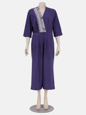 Purple Printed and Embroidered Cotton Jump Suit