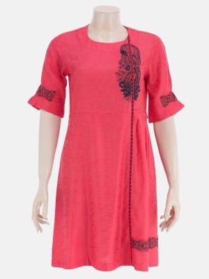 Watermelon Printed and Embroidered Viscose-Cotton Top