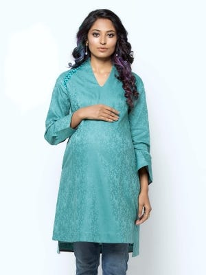 Light Teal Embroidered Cotton Maternity Tops