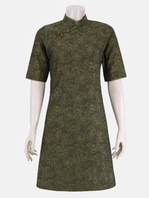 Olive green Jacquard Cotton Top