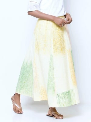Yellow Printed and Brush Painted Cotton Skirt