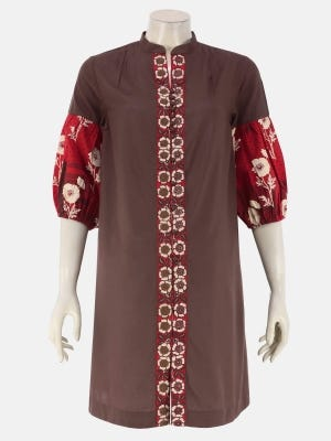 Coffee Brown Printed and Embroidered Viscose Maternity Tops
