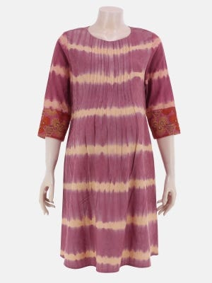 Onion Pink Tie-Dyed and Embroidered Jacquard Cotton Maternity Top