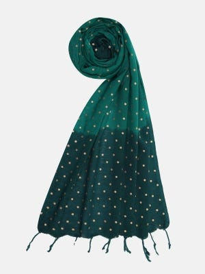 Green Tie-Dyed and Printed Handloom Viscose Scarf