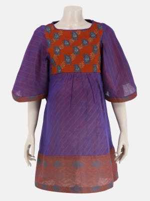Purple Dual Tone Printed and Embroidered Cotton Maternity Top