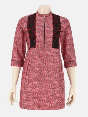 Red Dual Tone Printed and Embroidered Cotton-Satin Top
