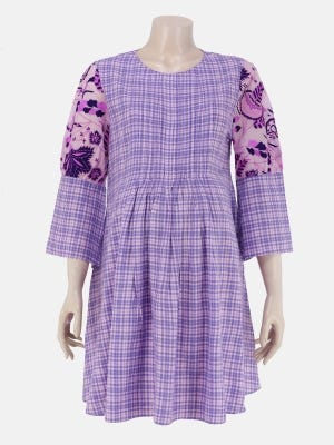 Lavender Check Embroidered Viscose Maternity Tops