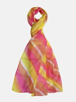 Yellow Hand Painted Silk Scarf