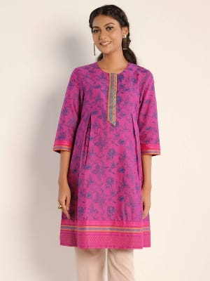Purple Printed and Embroidered Handloom Viscose Maternity Top