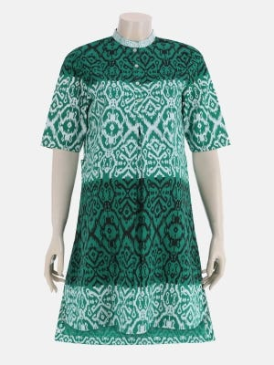 Green Printed Cotton Maternity Top