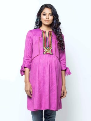 Purple Embroidered and Tie-Dyed Viscose-Jute Maternity Top