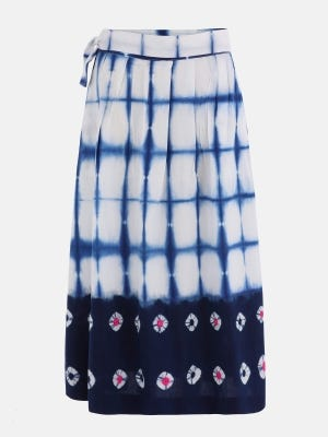 White Tie-Dyed and Embroidered Cotton Skirt