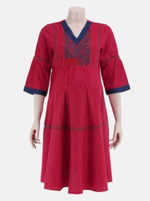 Red Printed and Embroidered Viscose-Cotton Maternity Top