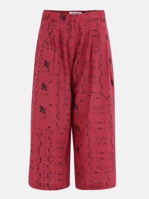Red Printed Cotton-Satin Trouser