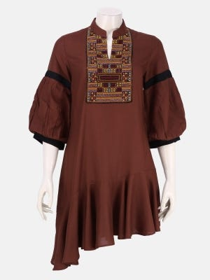 Brown Embroidered Viscose Top
