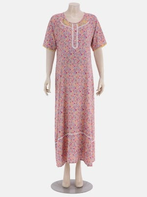 Peach Printed and Embroidered Linen Maternity Nightwear