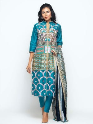 Peacock Blue Printed and Embrodiered Silk-Cotton Shalwar Kameez Set