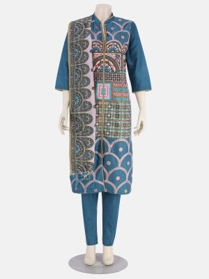 Teal Printed and Embroidered Silk-Cotton Kameez Set