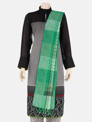 Mint Green Tie-Dyed and Printed Check Handloom Cotton Dupatta
