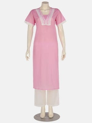 Pink Embroidered Two Piece Voile Nightwear