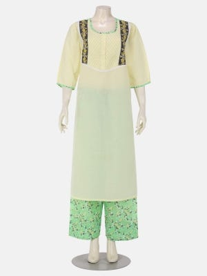 Pastel Yellow Painted and Embroidered Voile Nightwear Set
