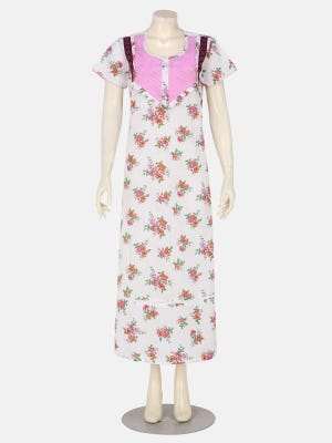 White Printed and Embroidered Cotton Nightwear