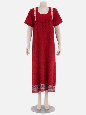 Red Printed and Embroidered Voile Nightwear