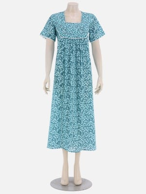 Mint Green Printed and Embroidered Cotton Nightwear