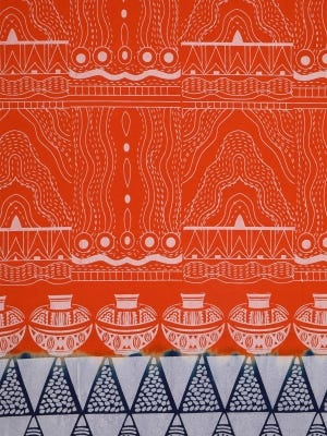 Deep Orange Printed and Dyed Cotton Blouse Piece