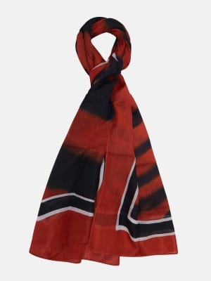 Brick Red Hand Painted Silk Scarf