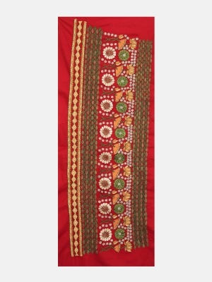 Red Embroidered Voile Yoke
