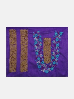 Purple Embroidered Mixed Silk Chosha Yoke