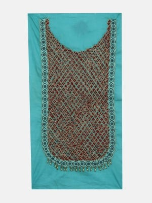Turquoise Embroidered Voile Yoke