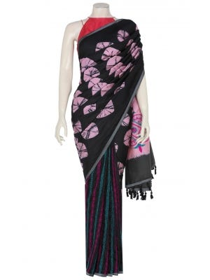 Black Tie-Dyed and Embroidered Silk Saree