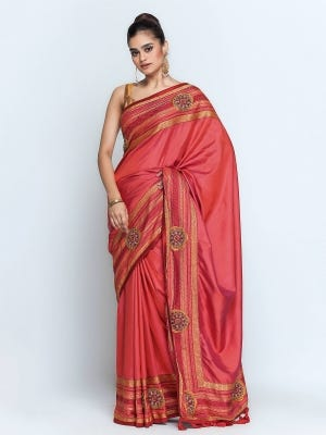 Red Appliqued and Erri Embroidered Silk Saree