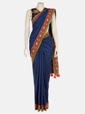 Blue Printed and Embroidered Silk Saree